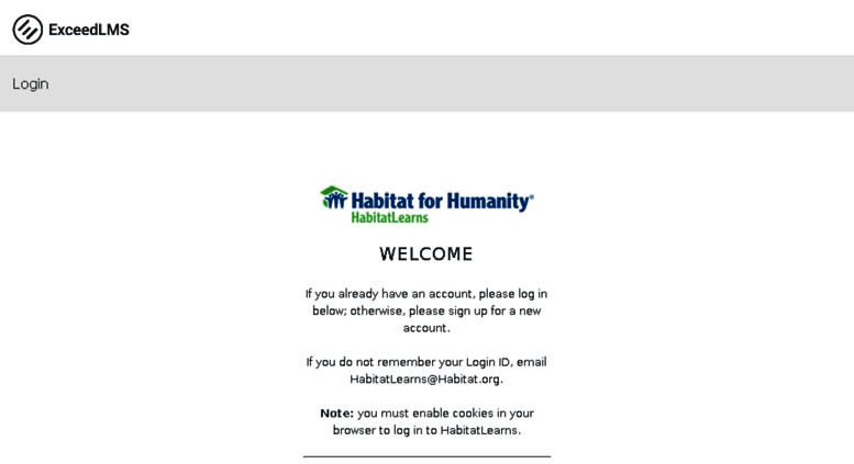 Access Habitatlearnsexceedlmscom Habitat For Humanity