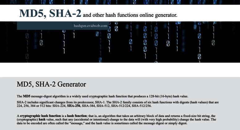 Access hashgen evidweb com  MD5, SHA-256 generator | EVIDWEB