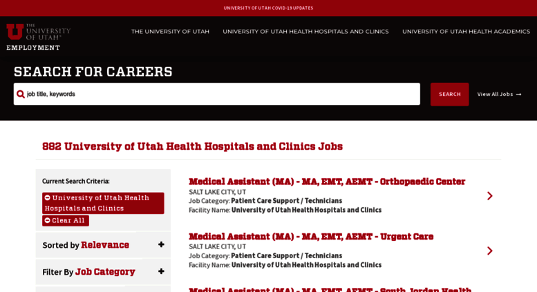 Access healthcarejobs utah edu  University of Utah Jobs