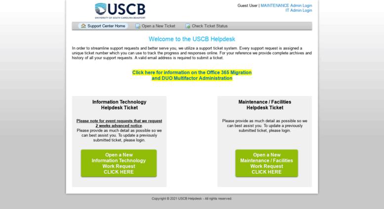 Access helpdesk uscb edu  USCB Helpdesk
