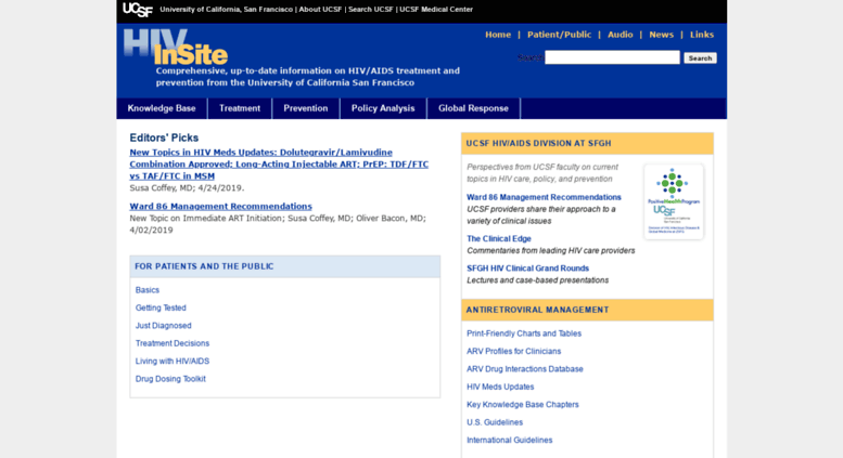 Access hivinsite ucsf edu  HIV InSite Gateway to HIV and
