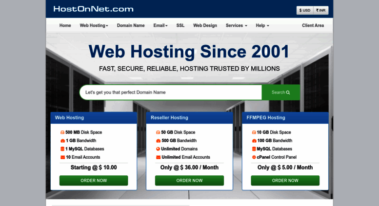 Begin the search for your perfect domain name...