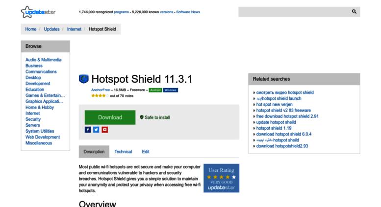 Access hotspot-shield updatestar com  Hotspot Shield 7 15
