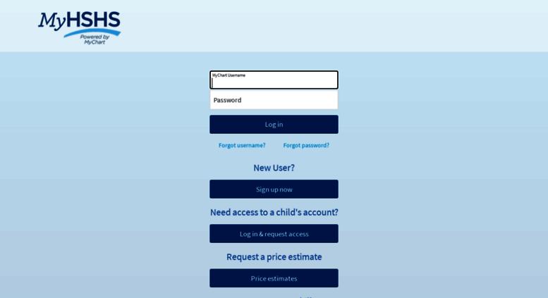 Access hshsmyhealthrecord com  MyChart - Login Page