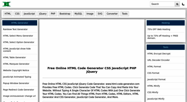 Access html-code-generator com  Online HTML Code Generator