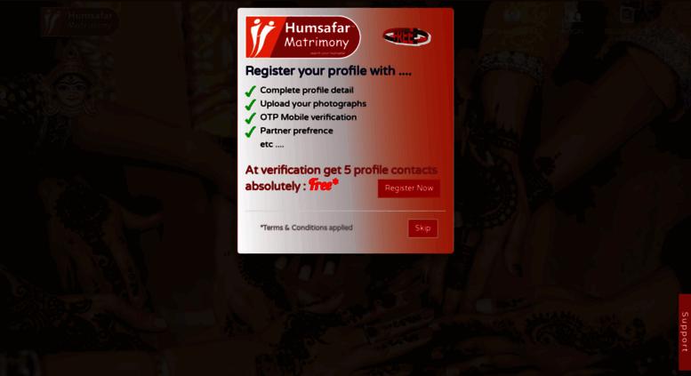 Access humsafarmatrimony com  Free Online Indian matrimonial