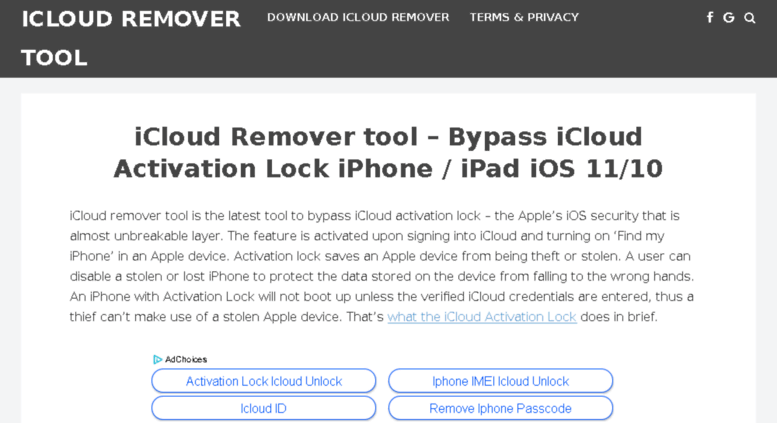 Access icloudremovertool com  Download iCloud Remover Tool