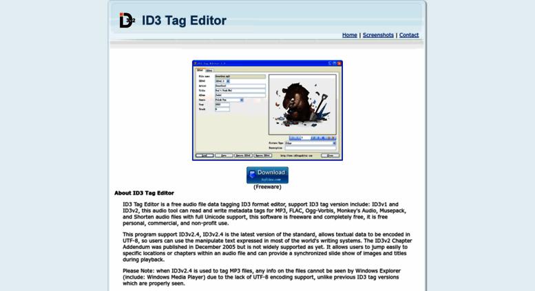Access id3tageditor com  ID3 Tag Editor