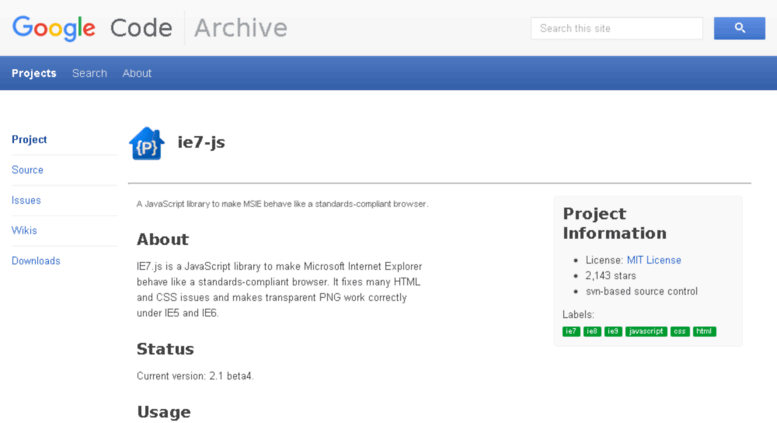 Access ie7-js googlecode com  Google Code Archive - Long