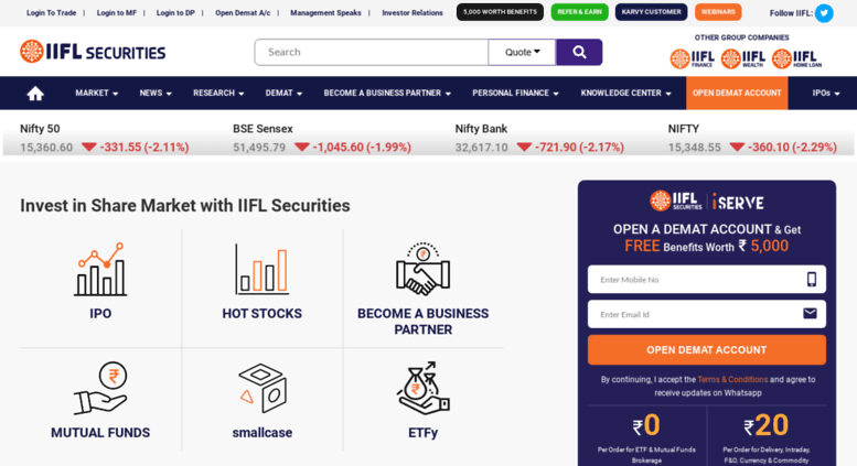 Access indiainfoline com  Share/Stock Market Investment