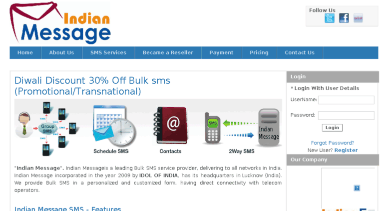 Access indianmessage com  Bulk SMS | Group SMS | SMS API