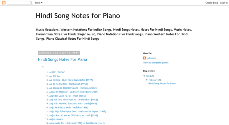 Access Indiansongsnotes Blogspot Com Hindi Song Notes For Piano We are including songs based on users requests. accessify