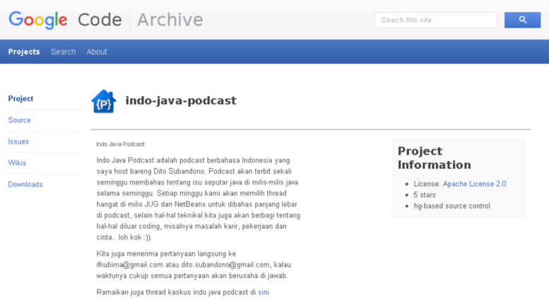 Access indo-java-podcast googlecode com  Google Code Archive