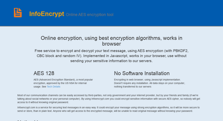 Access infoencrypt com  Online AES 128 Encrypt and Decrypt