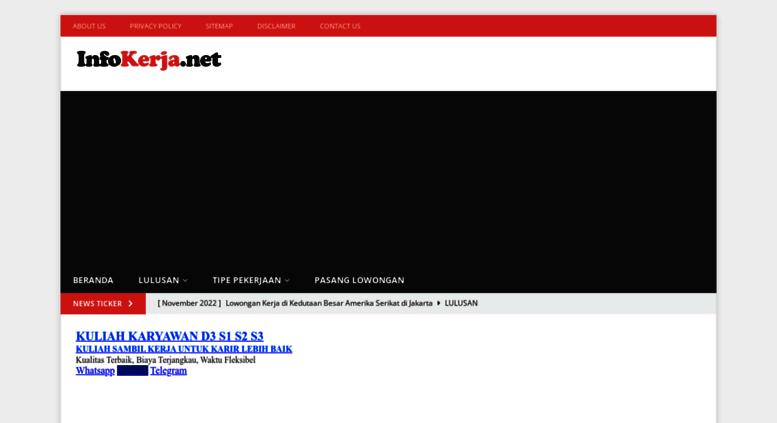 Access Infokerja Net Info Lowongan Kerja Sma Smk D3 S1 2019 2020