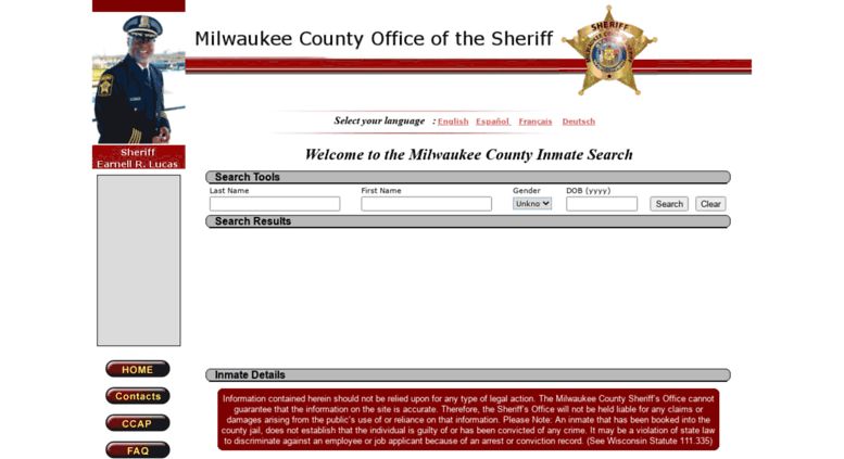 Access inmatesearch mkesheriff org  :: Milwaukee County :: Inmate
