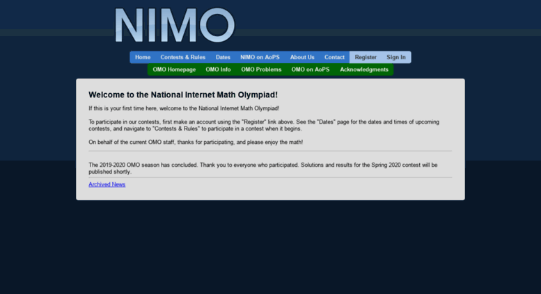 Access internetolympiad org  NIMO - Welcome to the National