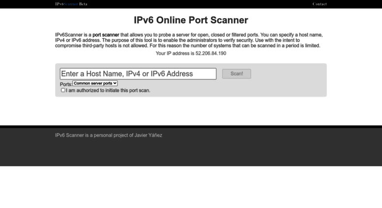 Access ipv6scanner com  IPV6 Scanner | Online Port Scan