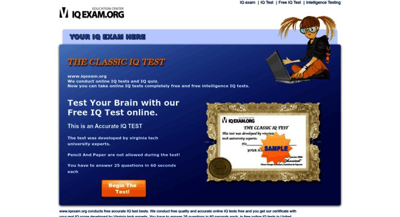 Access iqexam org  Free IQ Test - IQ Test Online - Brain Test