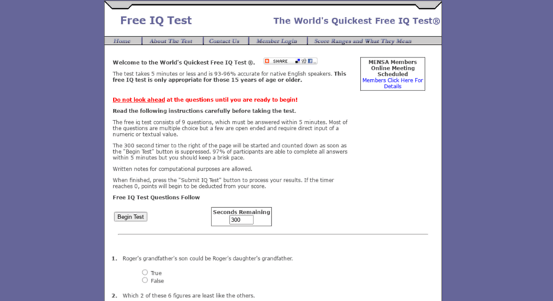 Access iqtestforfree com  Free IQ Test - The worlds quickest