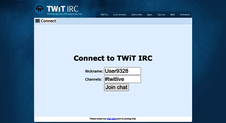 Access irc twit tv  TWiT Live Chat