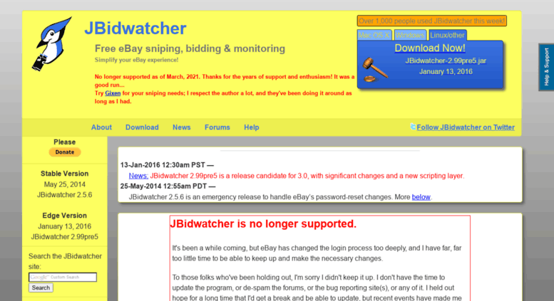 Access Jbidwatcher Com Jbidwatcher Free Ebay Auction Sniping Bidding Monitoring Software