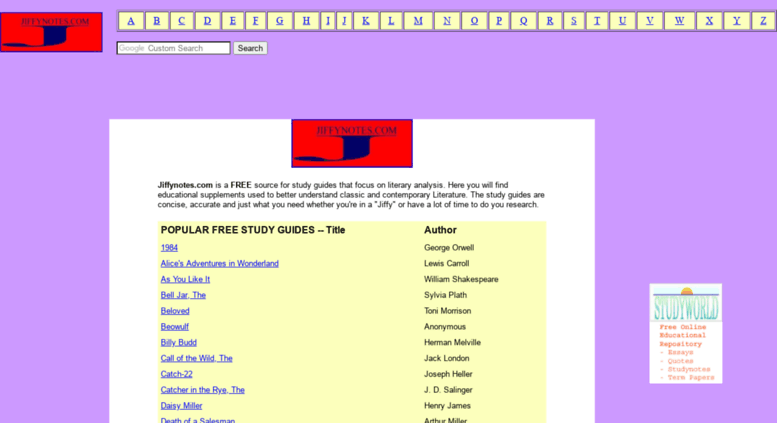 JiffyNotes is a popular book summary and literature study guide website similar to Sparknotes.