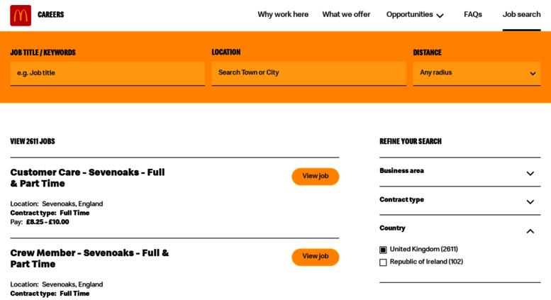 Access jobs mcdonalds co uk  McDonald's Careers UK :: Job search