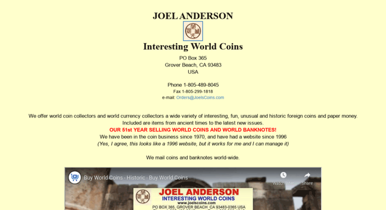 Access joelscoins com  World coins and paper money from Joel