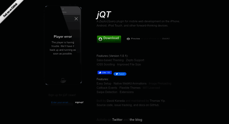 Access jqtouch com  jQT (formerly jQTouch) — Zepto/jQuery plugin for