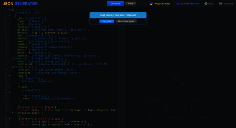 Access json-generator com  JSON Generator – Tool for