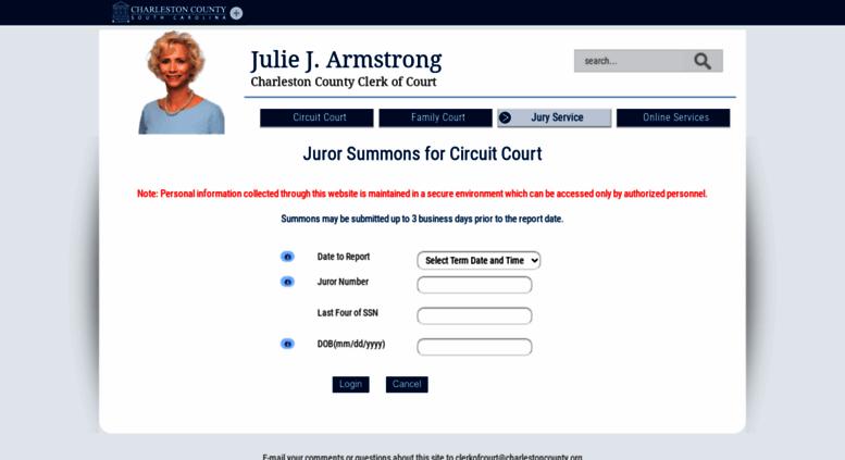 Access jurorsummons charlestoncounty org  General