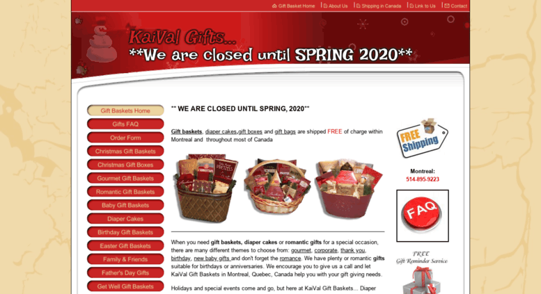 kaivalgiftbaskets.com screenshot