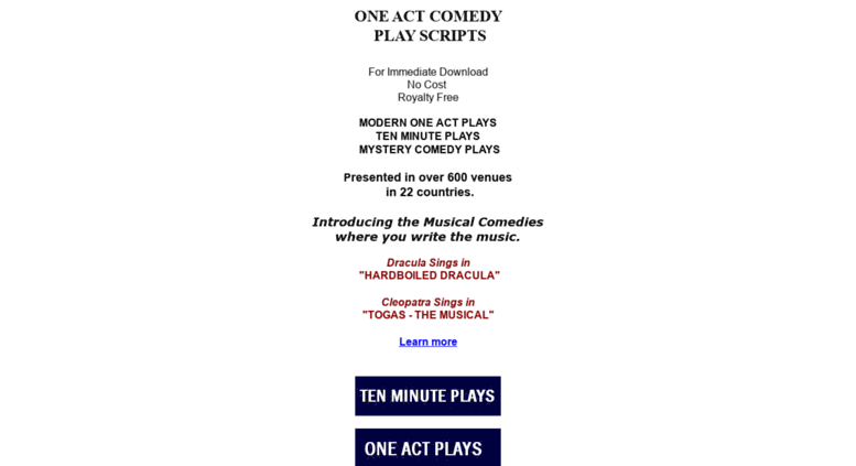 Access kaneprod com  ONE ACT COMEDY PLAYS - Scripts For