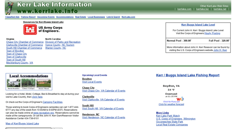 Access kerrlake info  Kerr / Buggs Island Lake Information and