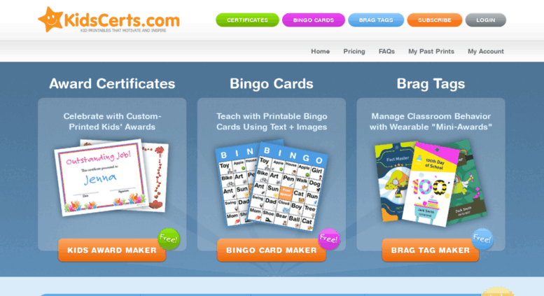 access kidscerts com award certificates and bingo cards for