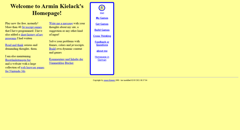 Access kielack com  Armin Kielack's Homepage with Javascript