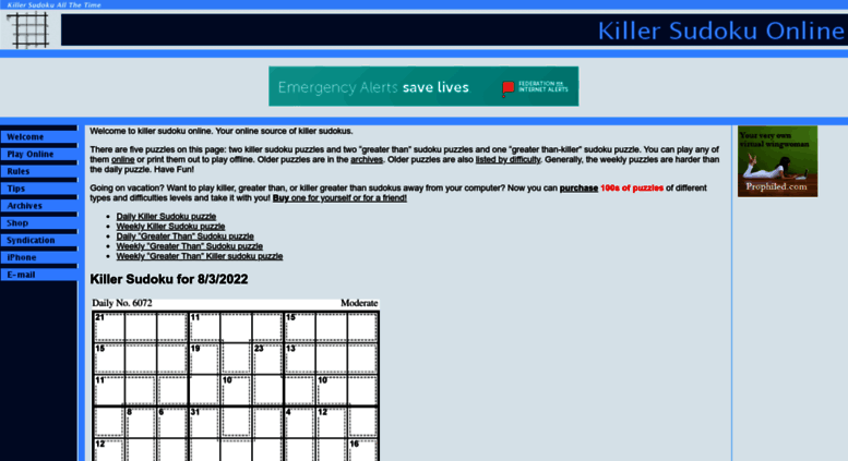 Access killersudokuonline com  Welcome to Killer Sudoku Online