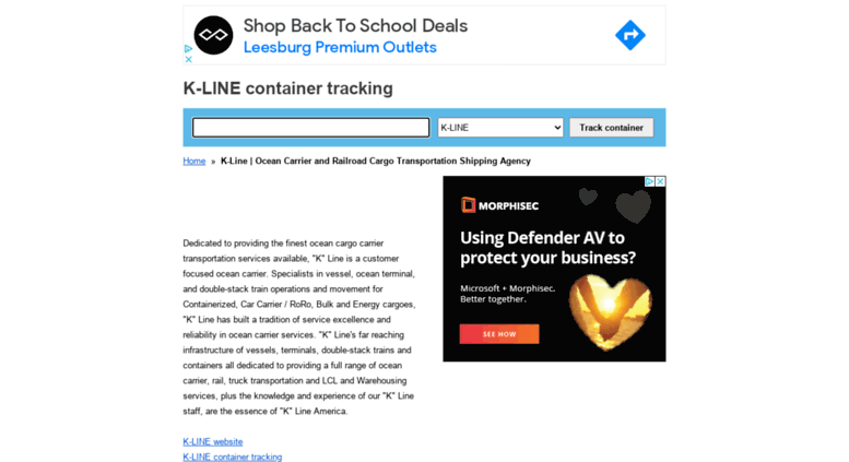 Access kline container-tracking org  K-LINE container tracking