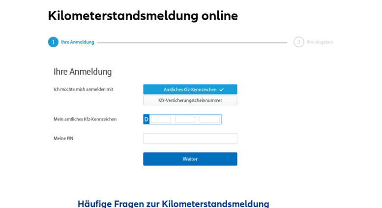 kilometerstandsmeldung allianz de