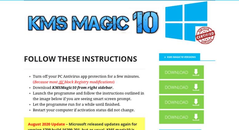 Access kmsmagic10 com  KMSMagic10 - KMSPico based windows