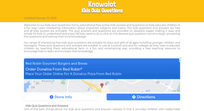 Access knowalot org  KIDS QUIZ QUESTIONS