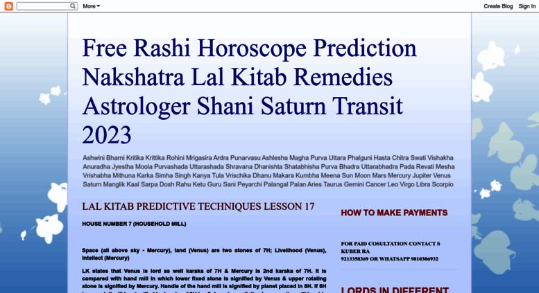 Access kuberastrology blogspot com  Free Rashi Horoscope