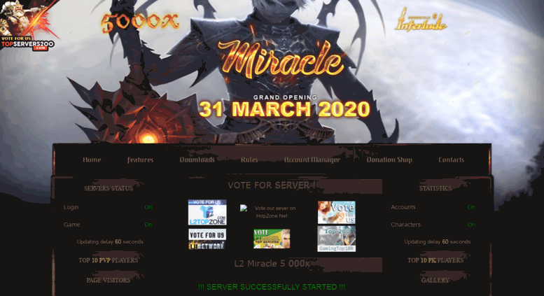 Access l2miracle com  Lineage 2 Miracle 5000x | GRAND START