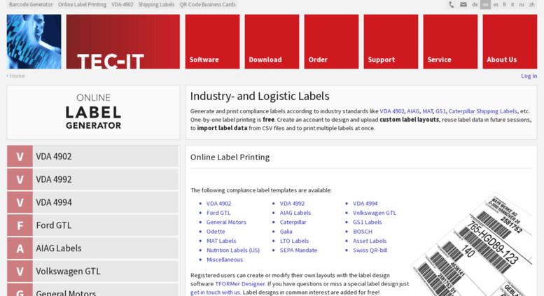 Access label tec-it com  Free Online Barcode Label Printing: AIAG