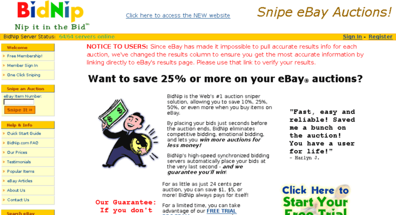 Access Legacy Bidnip Com Auction Sniper And Sniping Service And Software For Ebay Auctions Ebay Auction Sniper