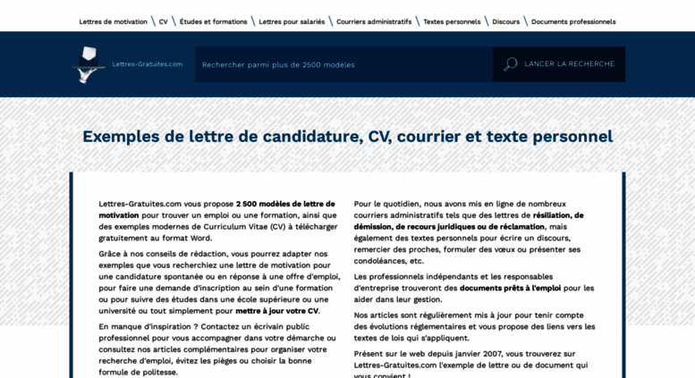 Access Lettres Gratuites Com Modèles De Lettre Motivation