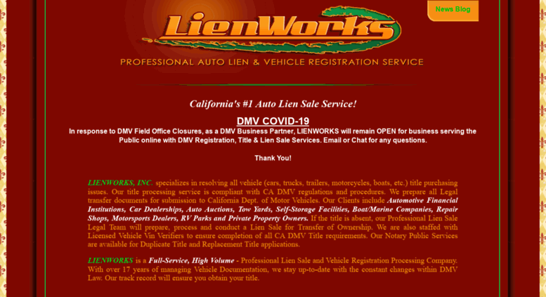 Access lienworks net  CA DMV #1 Business Partner, Top Auto