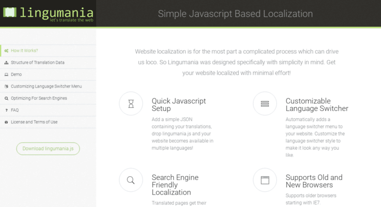 Access lingumania com  Lingumania - Simple Javascript based localization