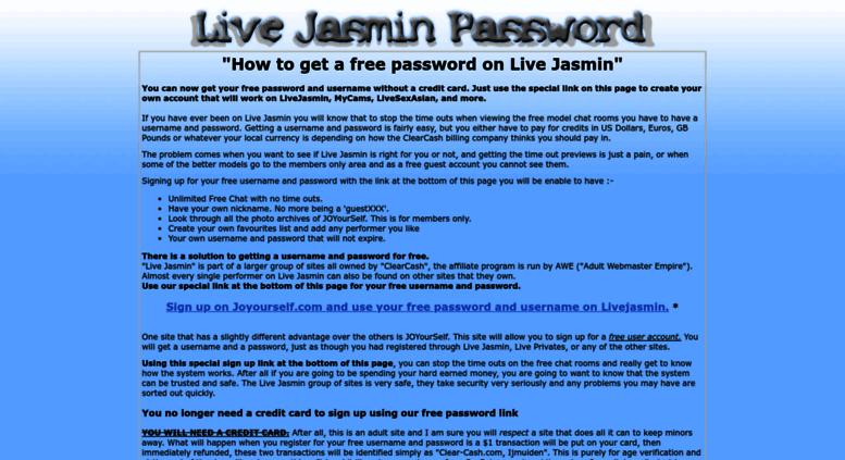 Access livejasminpassword com  Live Jasmin Password and Username
